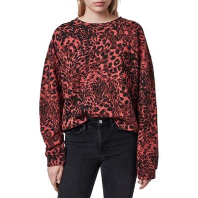 Allsaints Redar Leopard Print Sweatshirt, Red