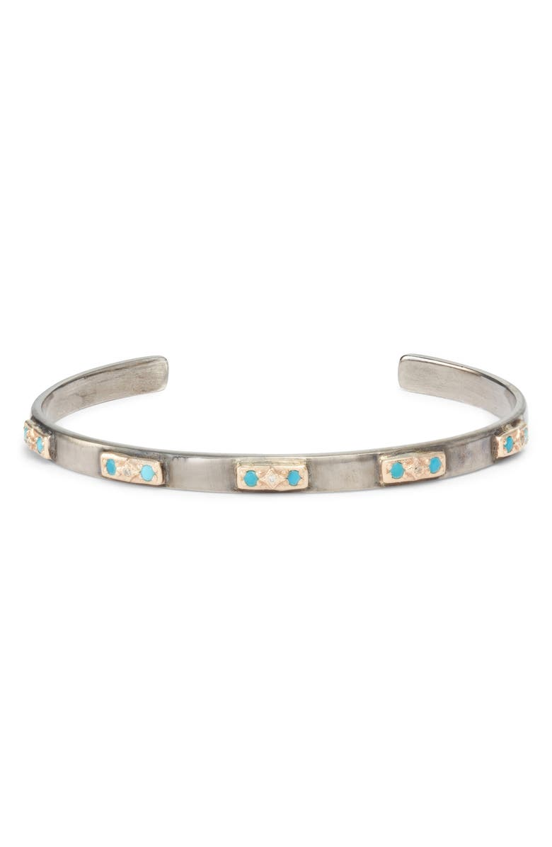 ARMENTA New World Turquoise & Diamond Cuff, Main, color, SILVER/ TURQUOISE