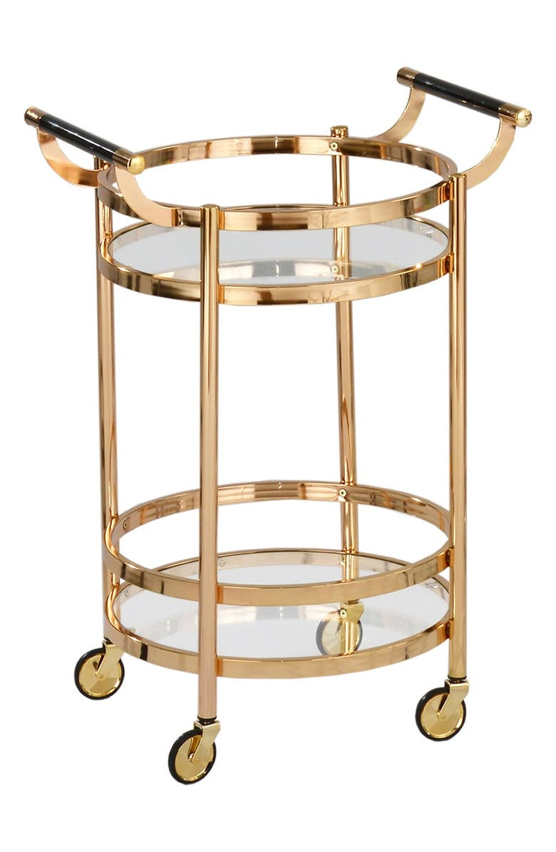 AMERICAN ATELIER Small Round Wheeled Bar Cart, Main, color, GOLD