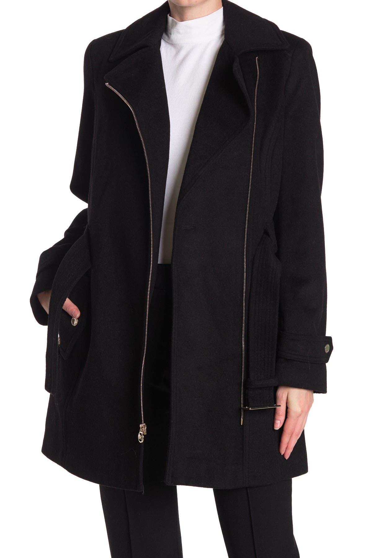 Image of MICHAEL Michael Kors Asymmetrical Zip Belted Wool Blend Coat