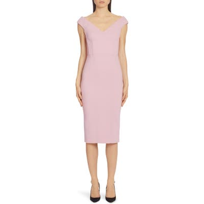 Dolce & gabbana V-Neck Sleeveless Crepe Sheath Dress, US / 40 IT - Pink