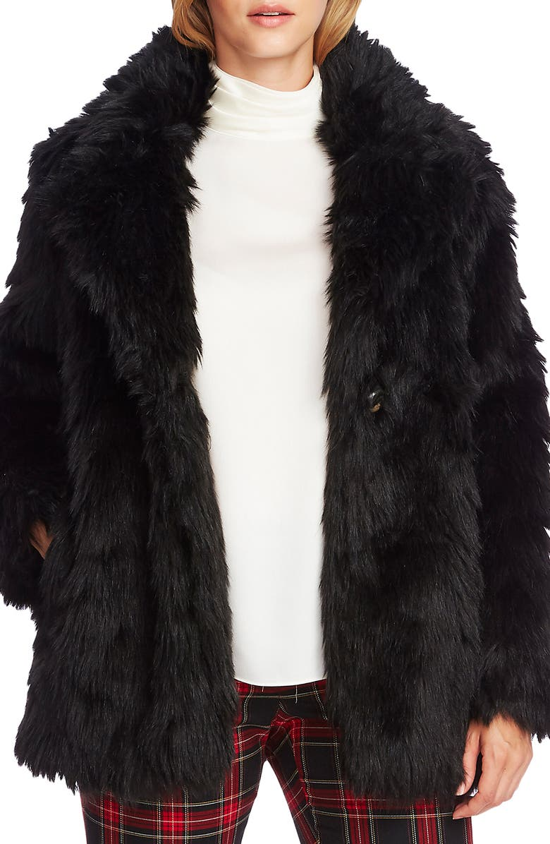 VINCE CAMUTO Shaggy Faux Fur Coat, Main, color, RICH BLACK