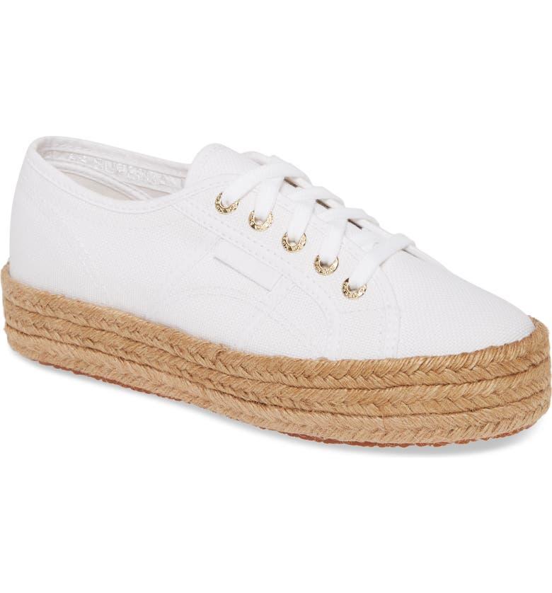 SUPERGA 2730 Cotropew Espadrille Platform Sneaker, Main, color, WHITE / GOLD