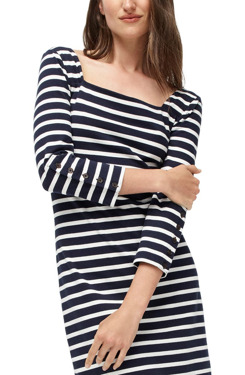 J.CREW Stripe Square Neck Knit Dress, Main, color, 100