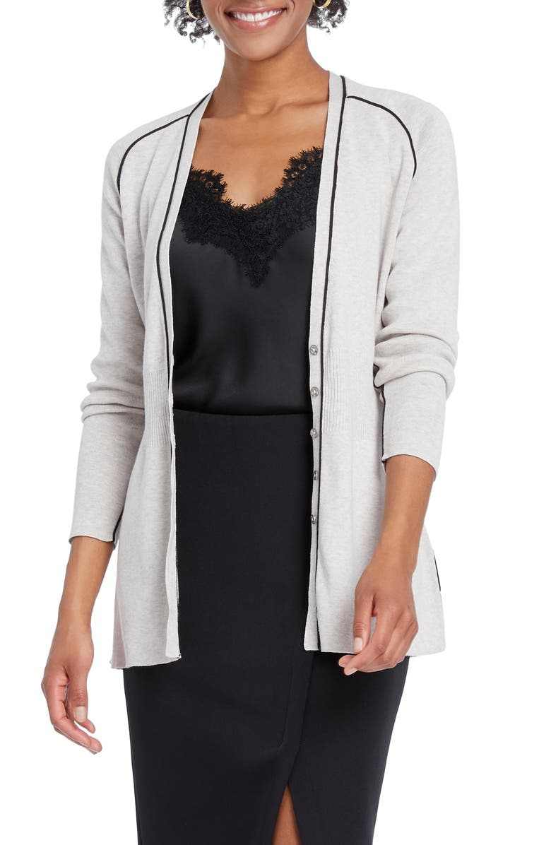 NIC+ZOE Tipped Cardigan, Main, color, PALE SISAL