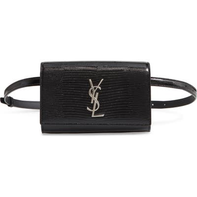 Saint Laurent Kate Lizard Embossed Leather Belt Bag - Black