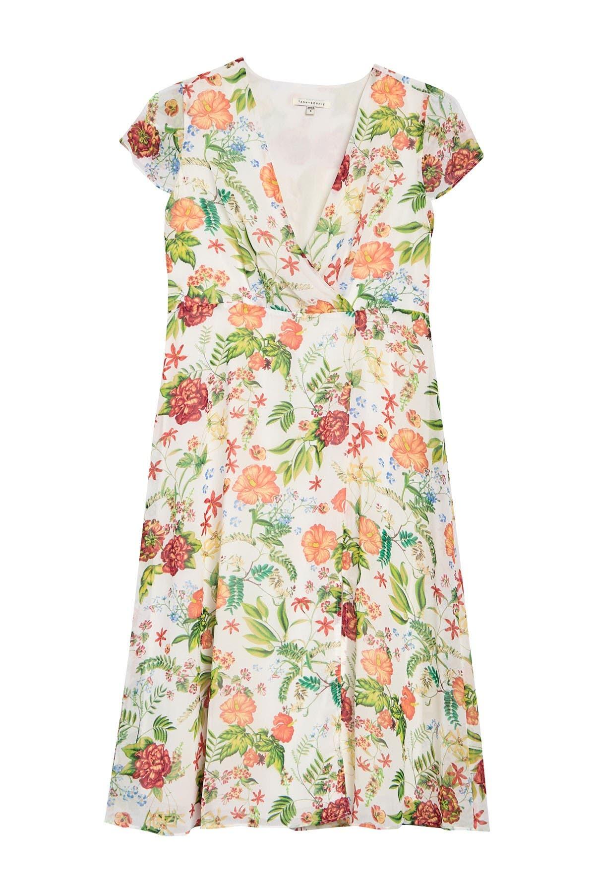 Image of TASH + SOPHIE Faux Wrap Floral Print Dress