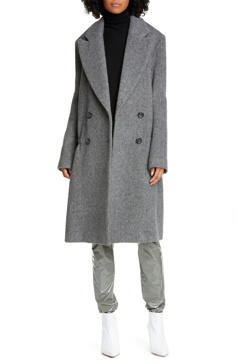 TIBI Drop Waist Herringbone Wool Blend Coat, Main, color, CEMENT