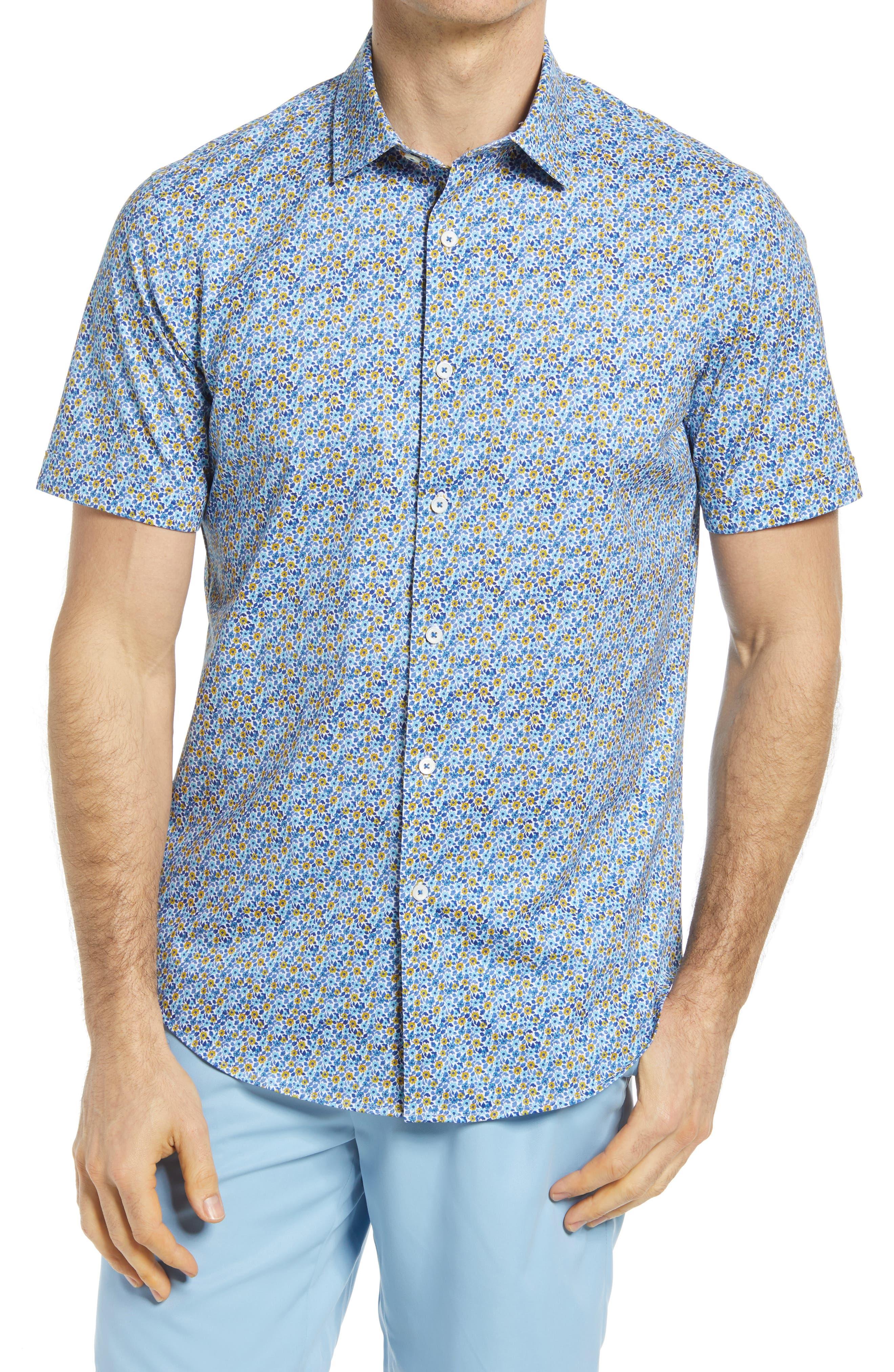 Ooohcotton Stretch Floral Short Sleeve Button-Up Shirt
