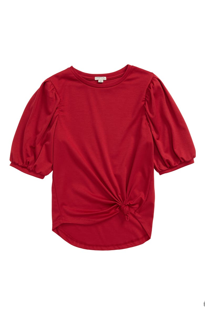 HABITUAL Puff Sleeve Twist Front Top, Main, color, RED