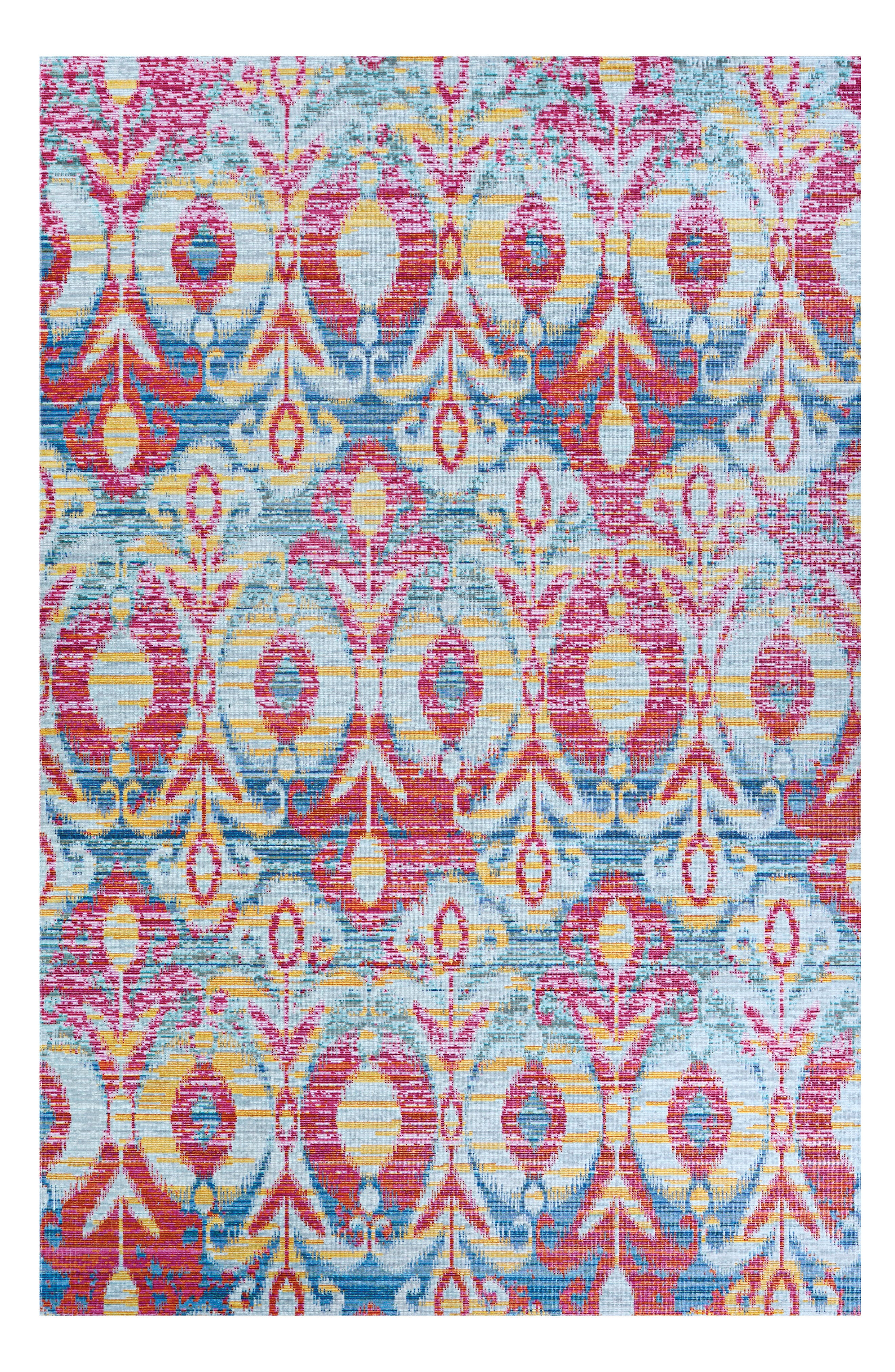 A vibrant motif adds eye-catching appeal to a lively rug woven from fade-resistant polypropylene, making it great for high-traffic areas both inside and outside. Style Name: Couristan Xanadu Toluca Indoor/outdoor Rug. Style Number: 5731916. Available in stores.
