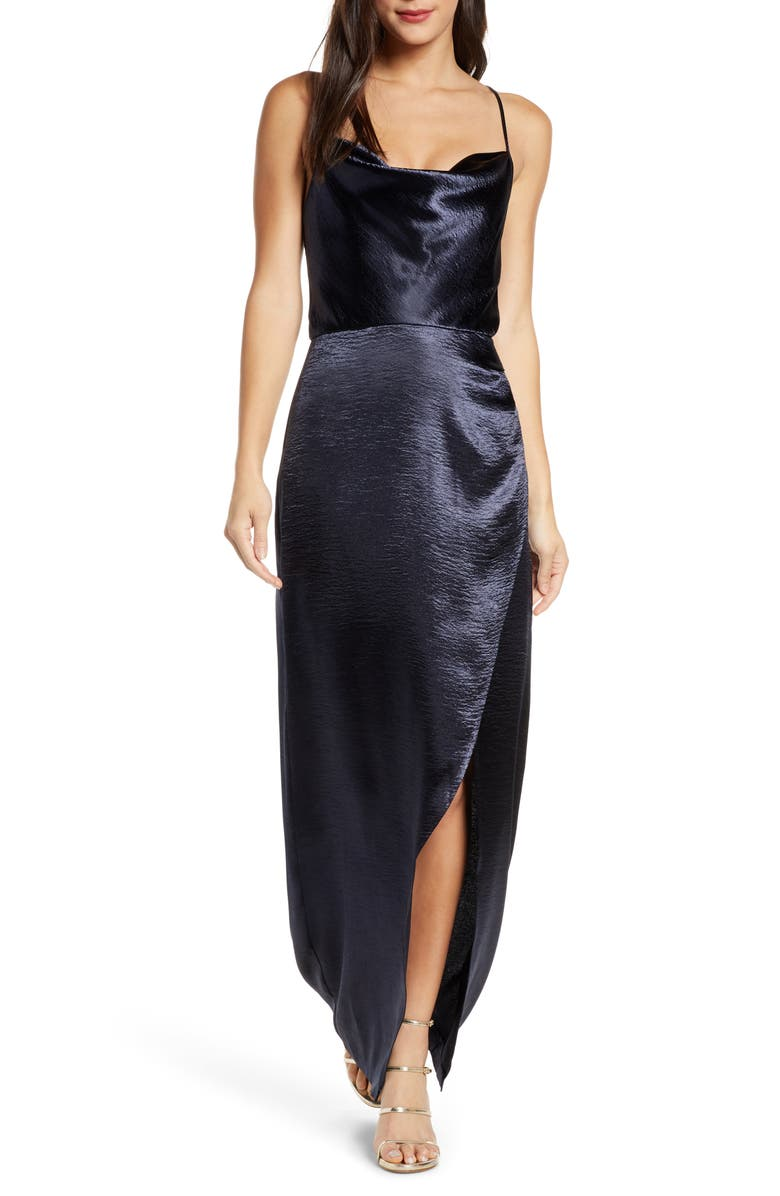 WAYF The Molly Cowl Neck Rumpled Satin Gown, Main, color, NAVY