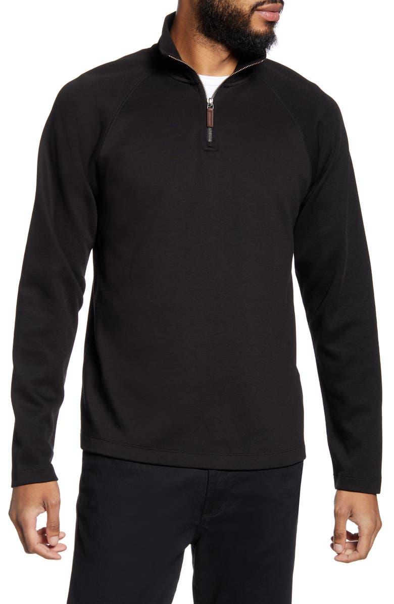 VINCE Quarter Zip Pullover, Main, color, BLACK