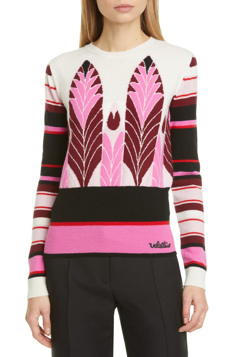 VALENTINO Feather Intarsia Wool & Cashmere Sweater, Main, color, AVORIO/ MULTICOLOR