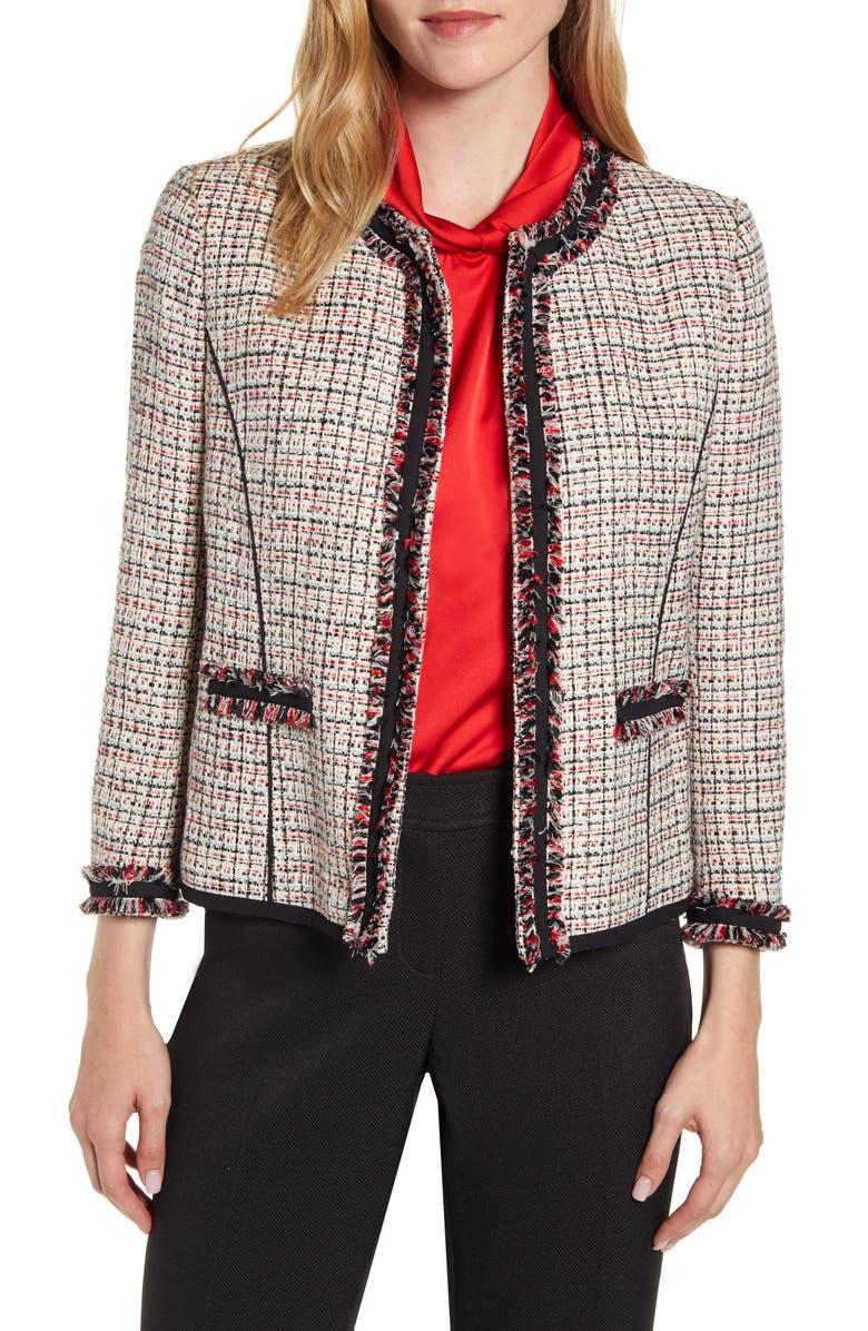 ANNE KLEIN Fringe Detail Collarless Tweed Jacket, Main, color, ANNE WHITE/ ANNE BLK COMBO
