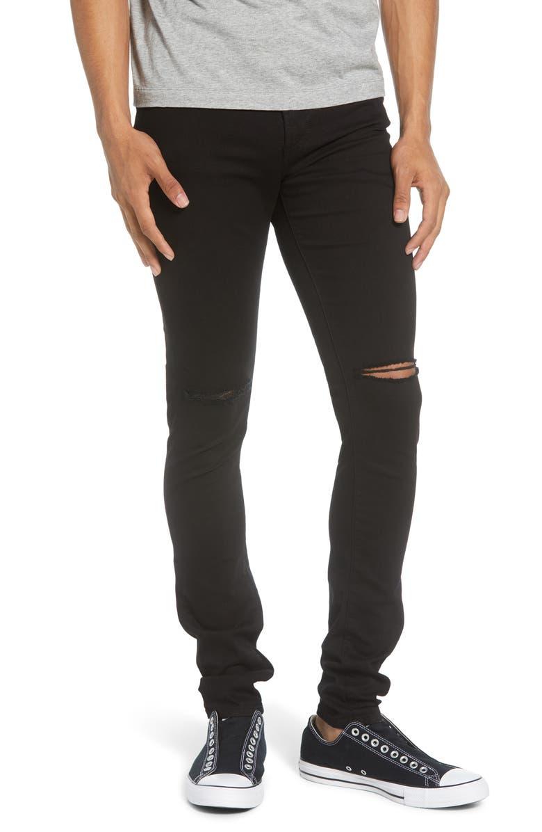 MONFRÈRE Greyson Skinny Fit Jeans, Main, color, DISTRESSED NOIR