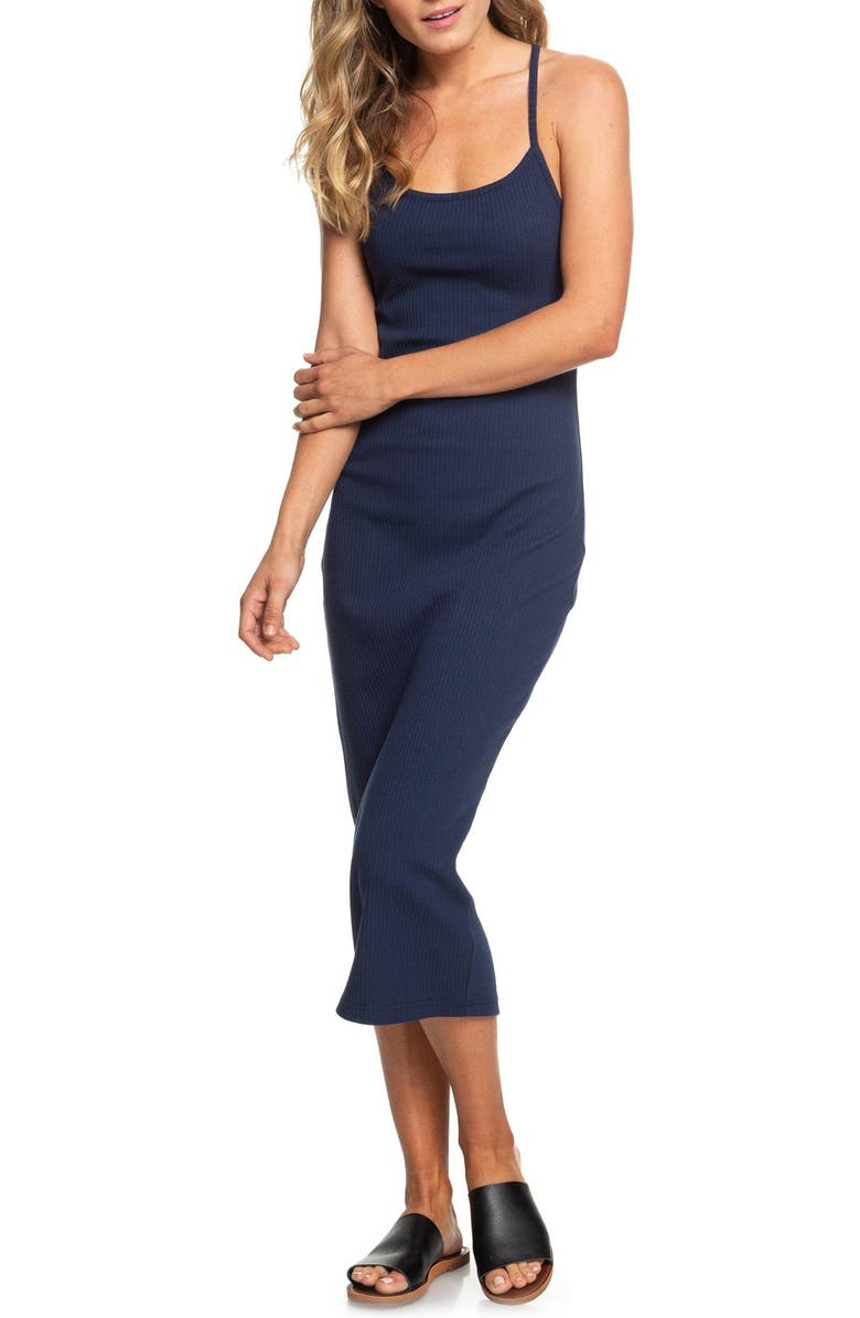 ROXY Likely Me Cutout Ribbed Midi Dress, Main, color, 400