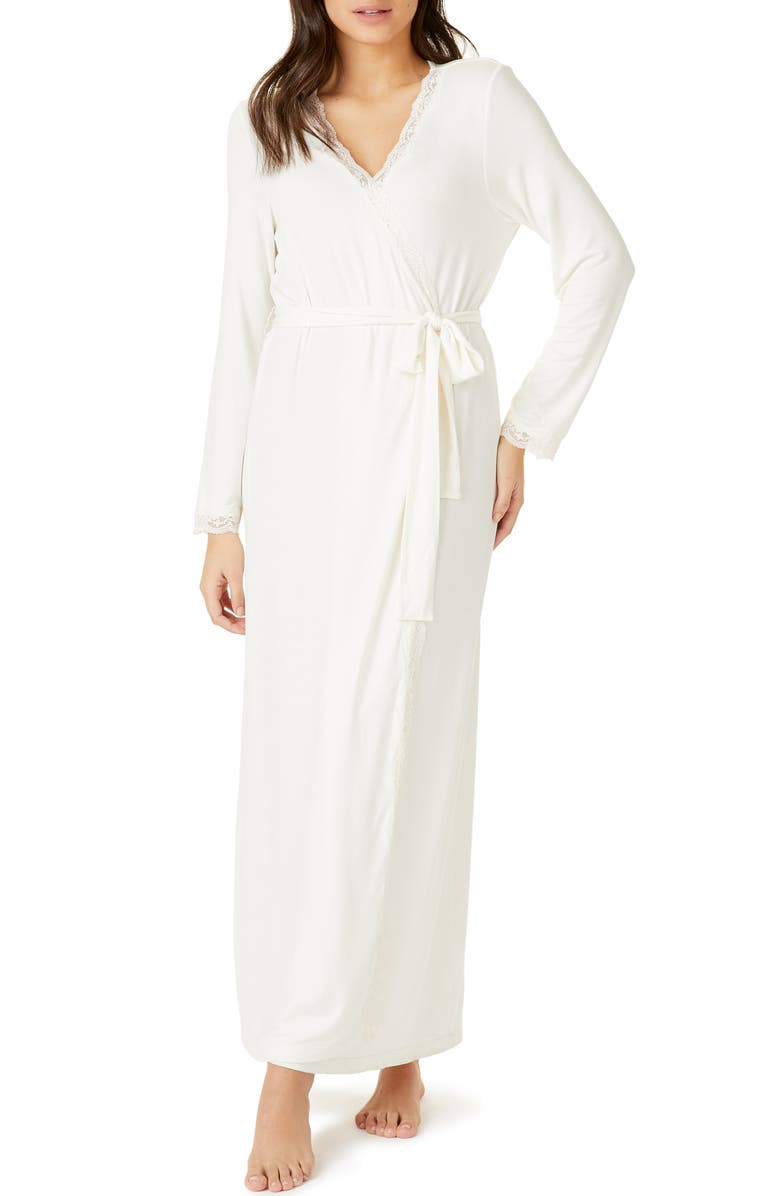 THE WHITE COMPANY Lace Trim Robe, Main, color, 900