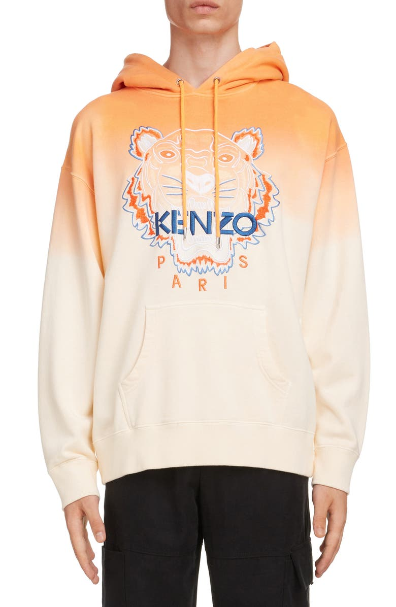 KENZO Dip Dye Tiger Embroidered Oversize Hooded Sweatshirt, Main, color, DEEP ORANGE