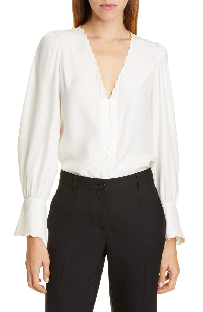 TAILORED BY REBECCA TAYLOR Scallop Detail Silk Charmeuse Blouse, Main, color, SNOW