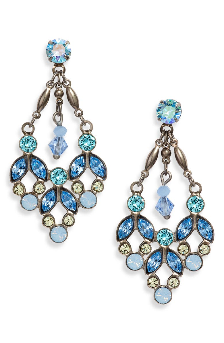 SORRELLI Floral Crystal Statement Earrings, Main, color, 400