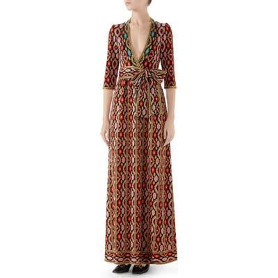 Gucci Metallic Jacquard Maxi Dress, Red