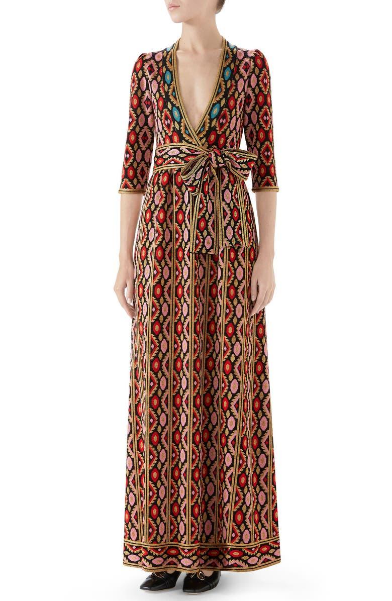 GUCCI Metallic Jacquard Maxi Dress, Main, color, RED/ PINK/ BLUE