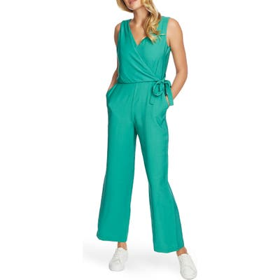 1.state V-Neck Wide Leg Twill Jumpsuit, Green