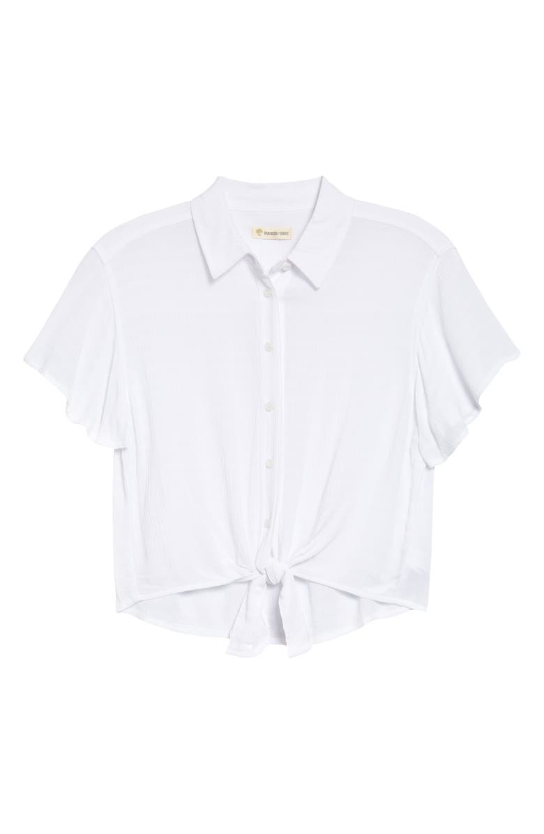 TUCKER + TATE Tie Front Button-Up Shirt, Main, color, 100