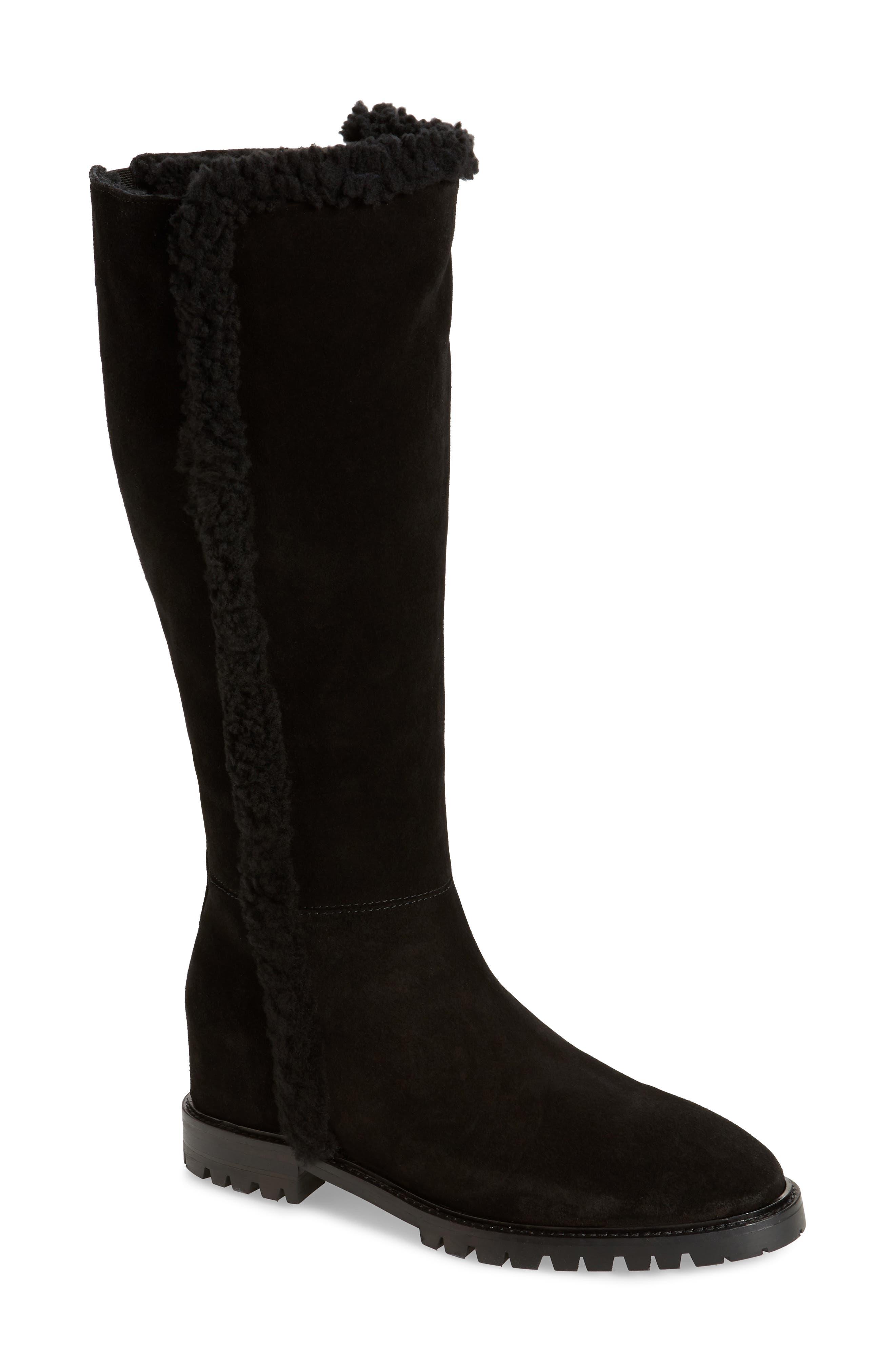 Image of Aquatalia Cheyenne Genuine Shearling Lined Weatherproof Leather Boot