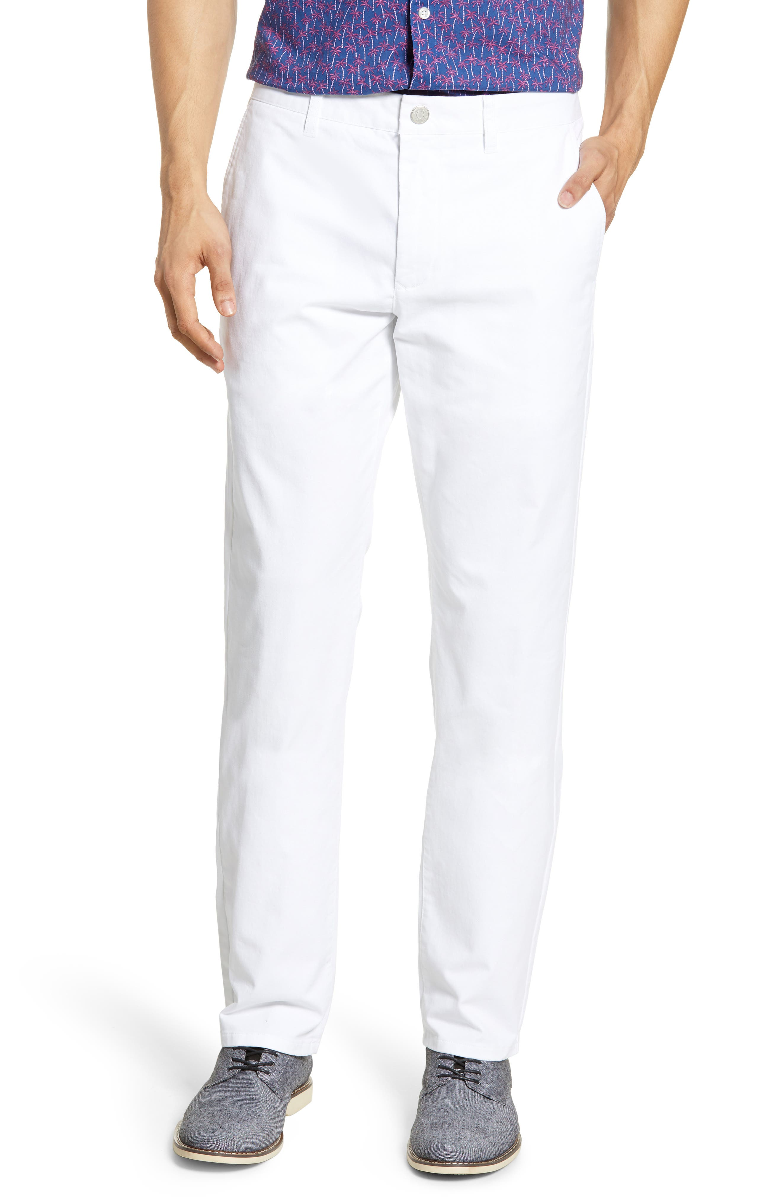 Slim Fit Stretch Washed Chinos, Main, color, BRIGHT WHITE