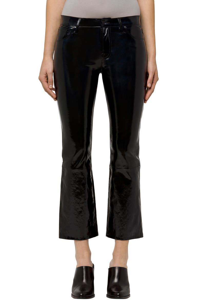 J BRAND Selena Crop Bootcut Patent Leather Jeans, Main, color, 001