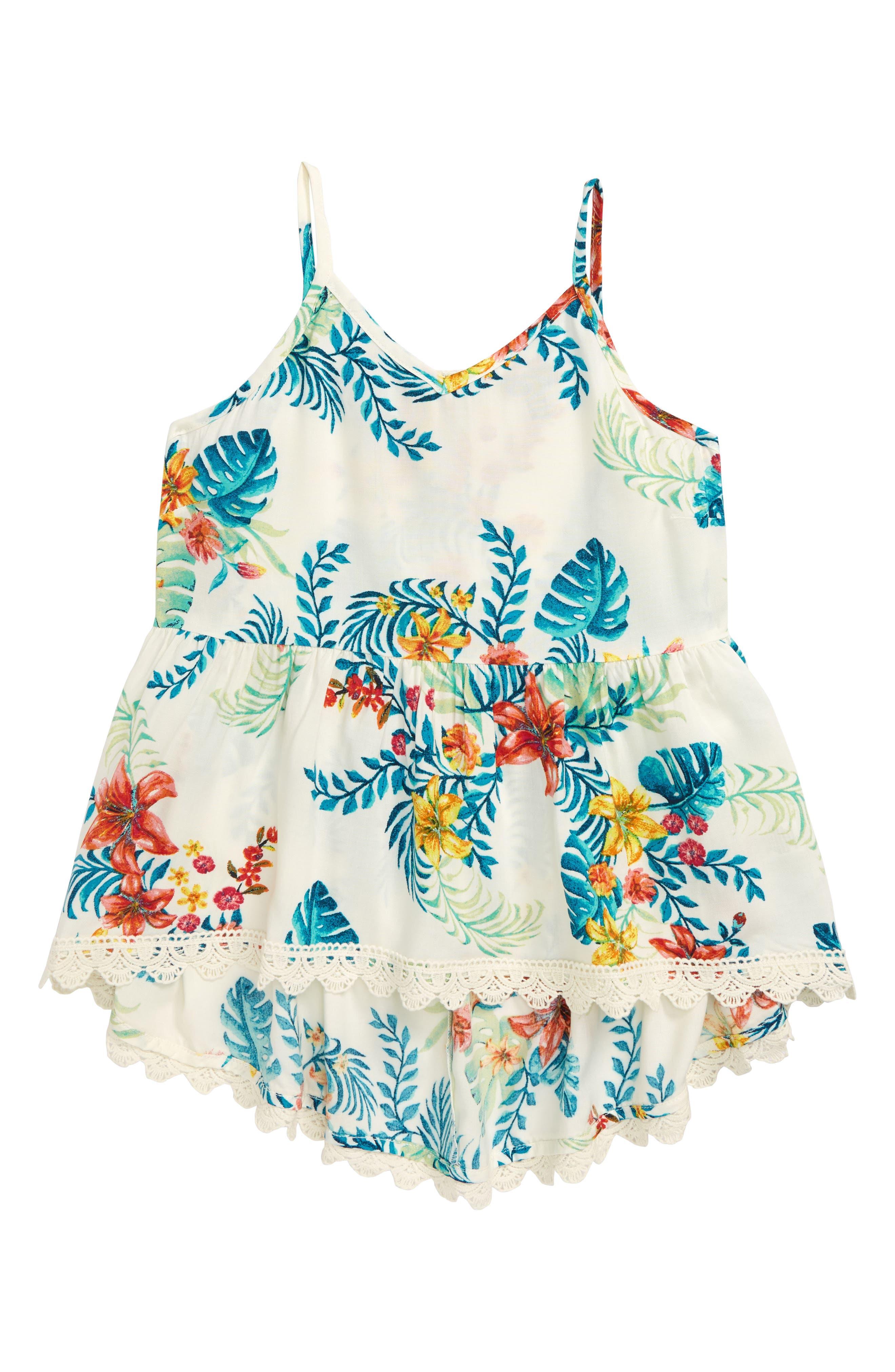 Girls Zunie Crochet Trim Swing Tank Size 12  White