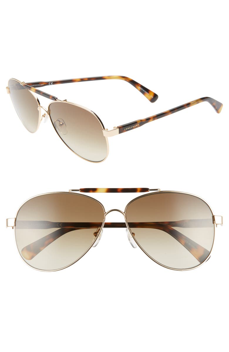 LONGCHAMP Le Pliage 61mm Aviator Sunglasses, Main, color, 214
