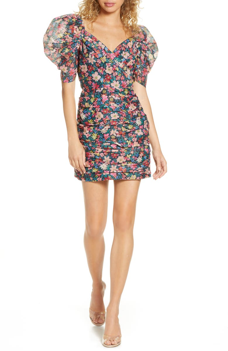 C/MEO COLLECTIVE And Ever More Floral Minidress, Main, color, BLACK GARDEN FLORAL