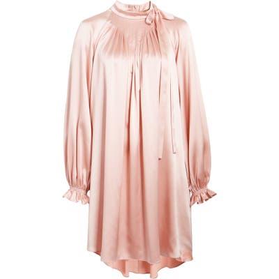 Adam Lippes Tie Neck Long Sleeve Silk Charmeuse Minidress, Pink