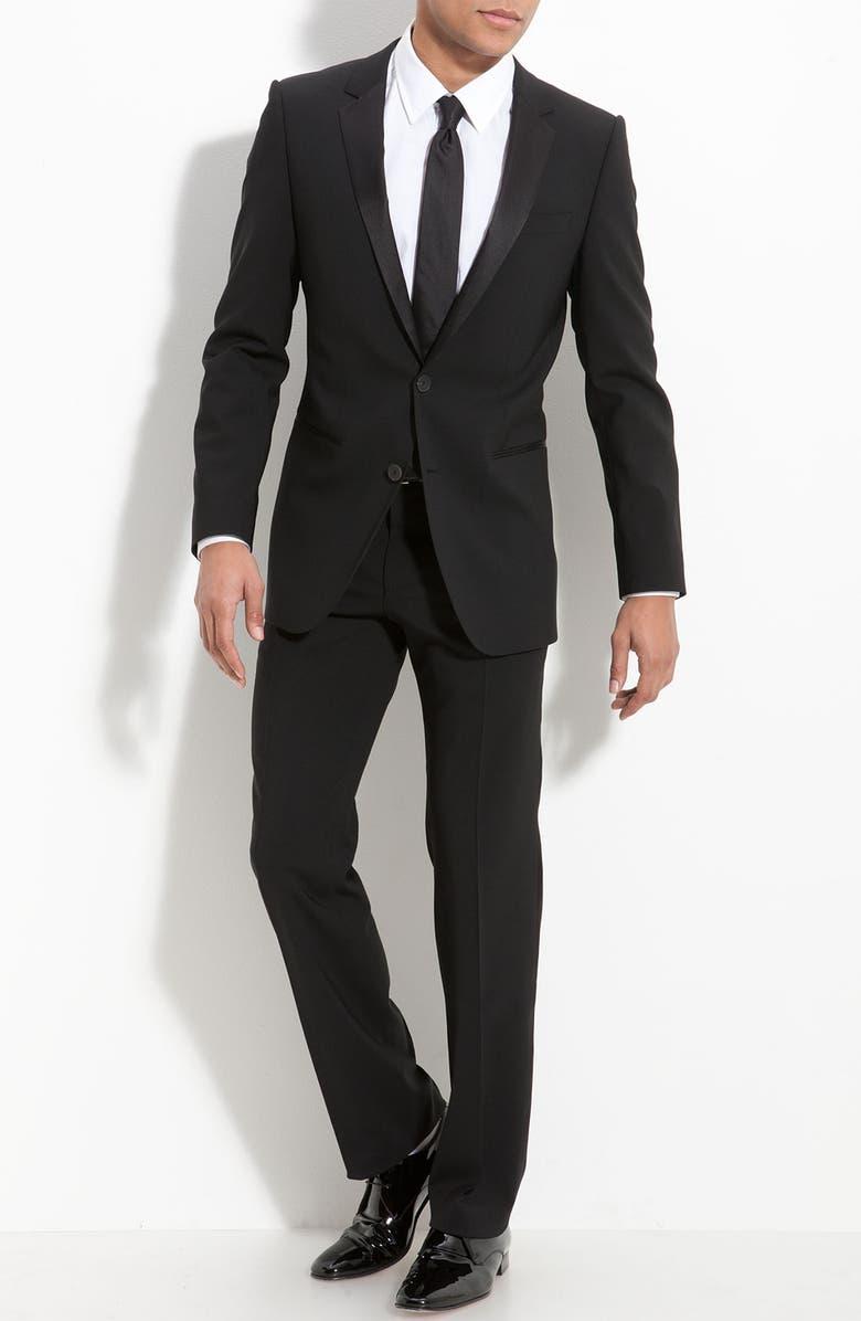 ZZDNUHUGO BOSS HUGO 'Aikin Hollo' Trim Fit Wool Tuxedo, Main, color, 001