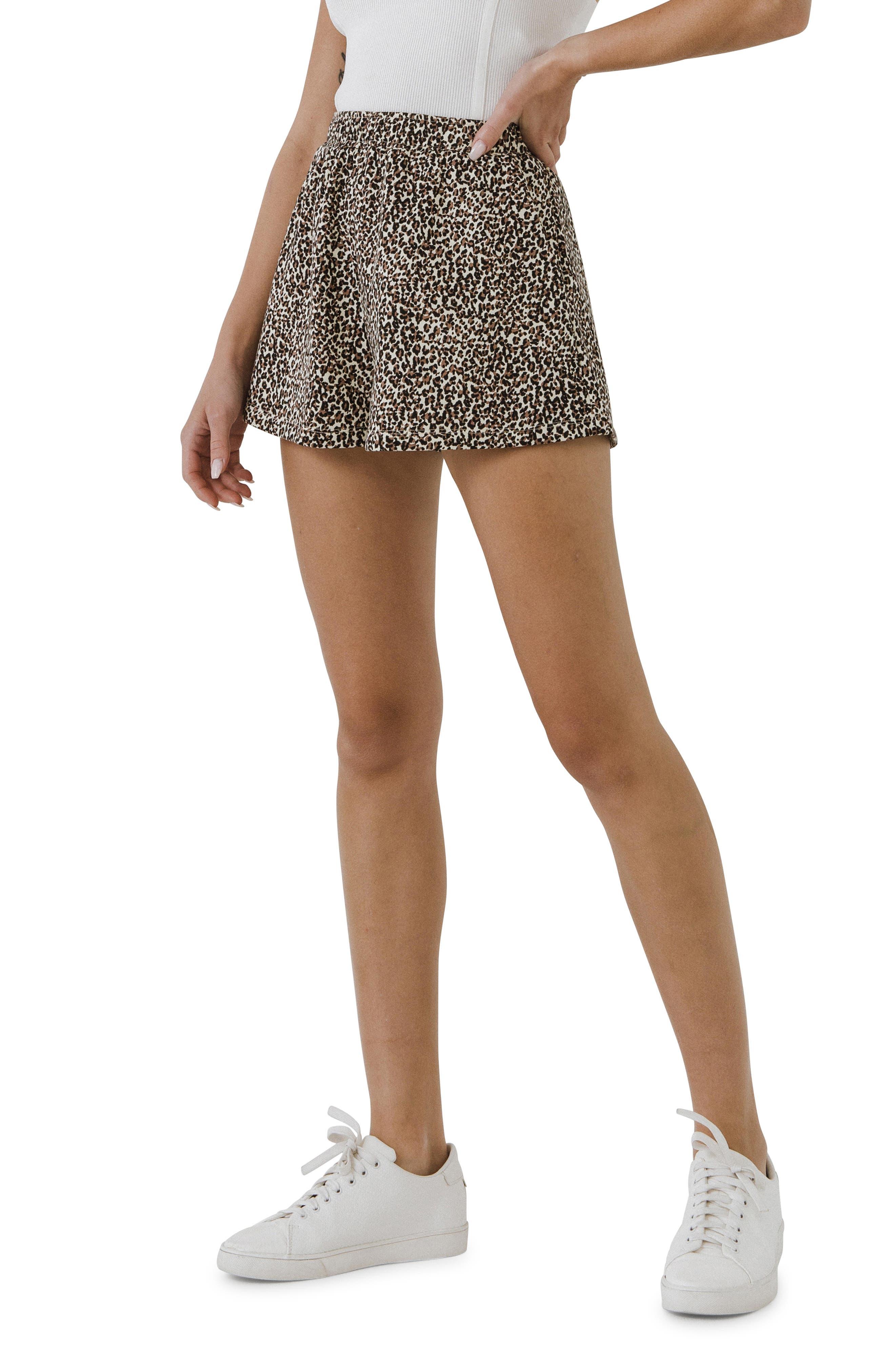 Animal Print Cotton Shorts