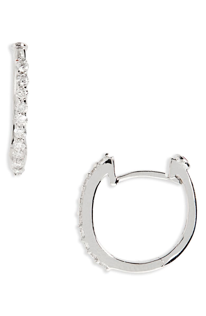 ROBERTO COIN Small Diamond Hoop Earrings, Main, color, WHITE GOLD