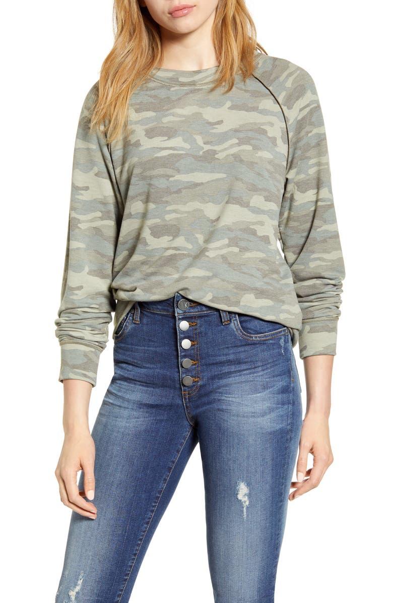 CASLON<SUP>®</SUP> Cozy Print Sweatshirt, Main, color, LIGHT OLIVE CAMO PRINT