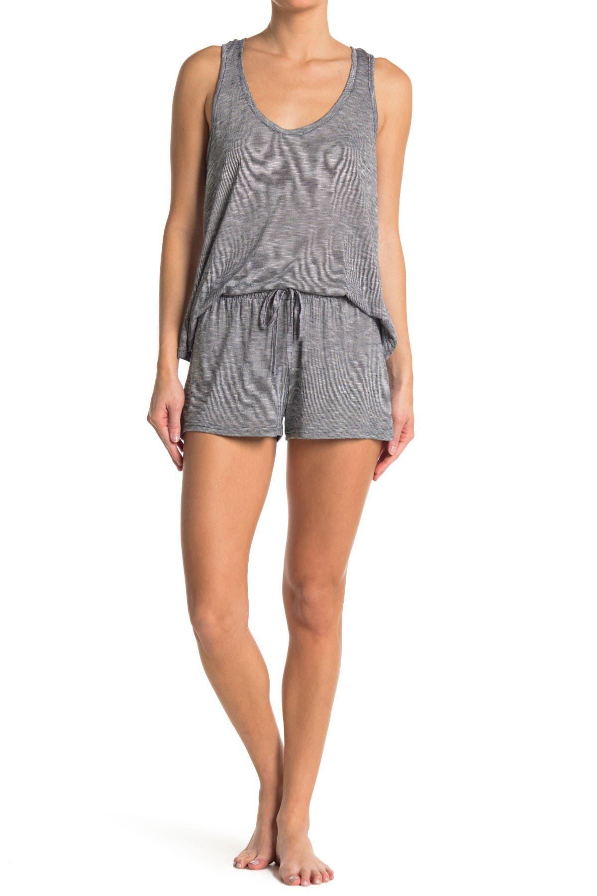 Image of Tahari Stripe Racerback Tank & Shorts 2-Piece Pajama Set