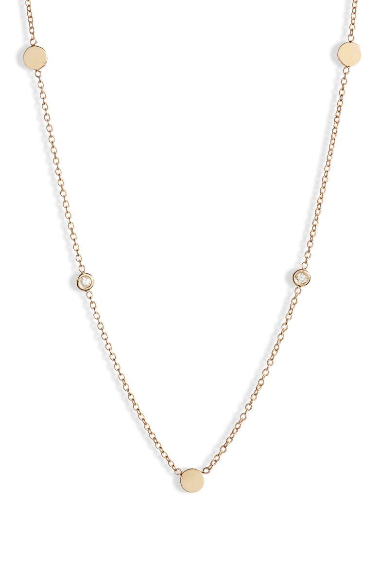 ZOË CHICCO Bezel Diamond Necklace, Main, color, GOLD/ DIAMOND
