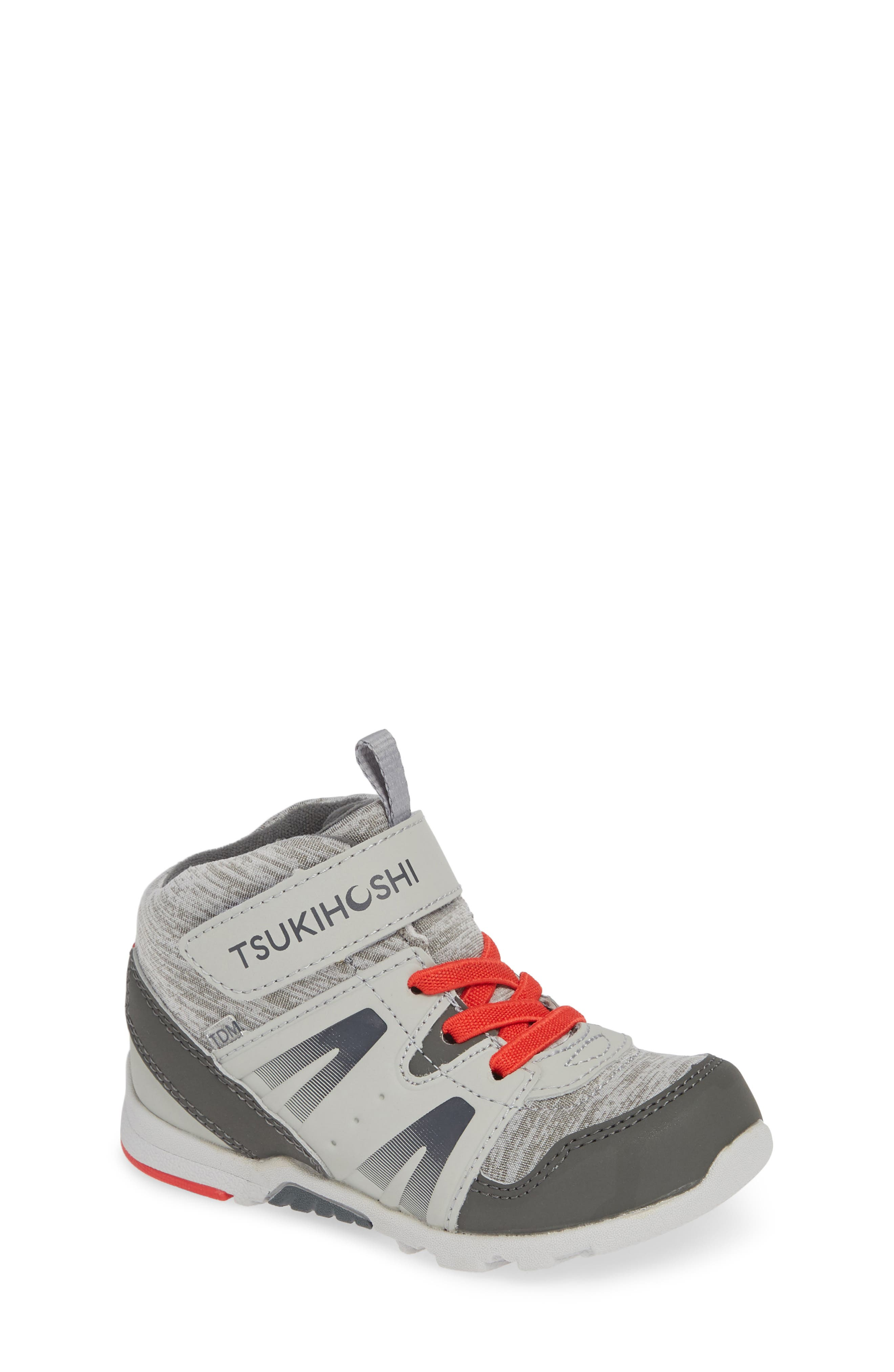 Made for exploring, this high-top sneaker is designed with a roomy toe box to allow little toes to wiggle, splay and stretch, just like they would barefoot. A firm heel provides stability and protects from overpronation, while the light and flexible sole promotes natural movement. Style Name: Tsukihoshi Hike Waterproof Sneaker (Little Kid & Big Kid). Style Number: 5674582. Available in stores.