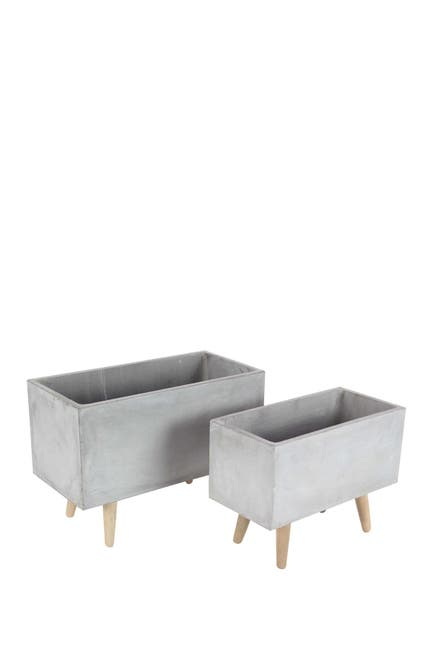 Image of Willow Row Grey Contemporary Clay & Wood Box Planter - Set of 2
