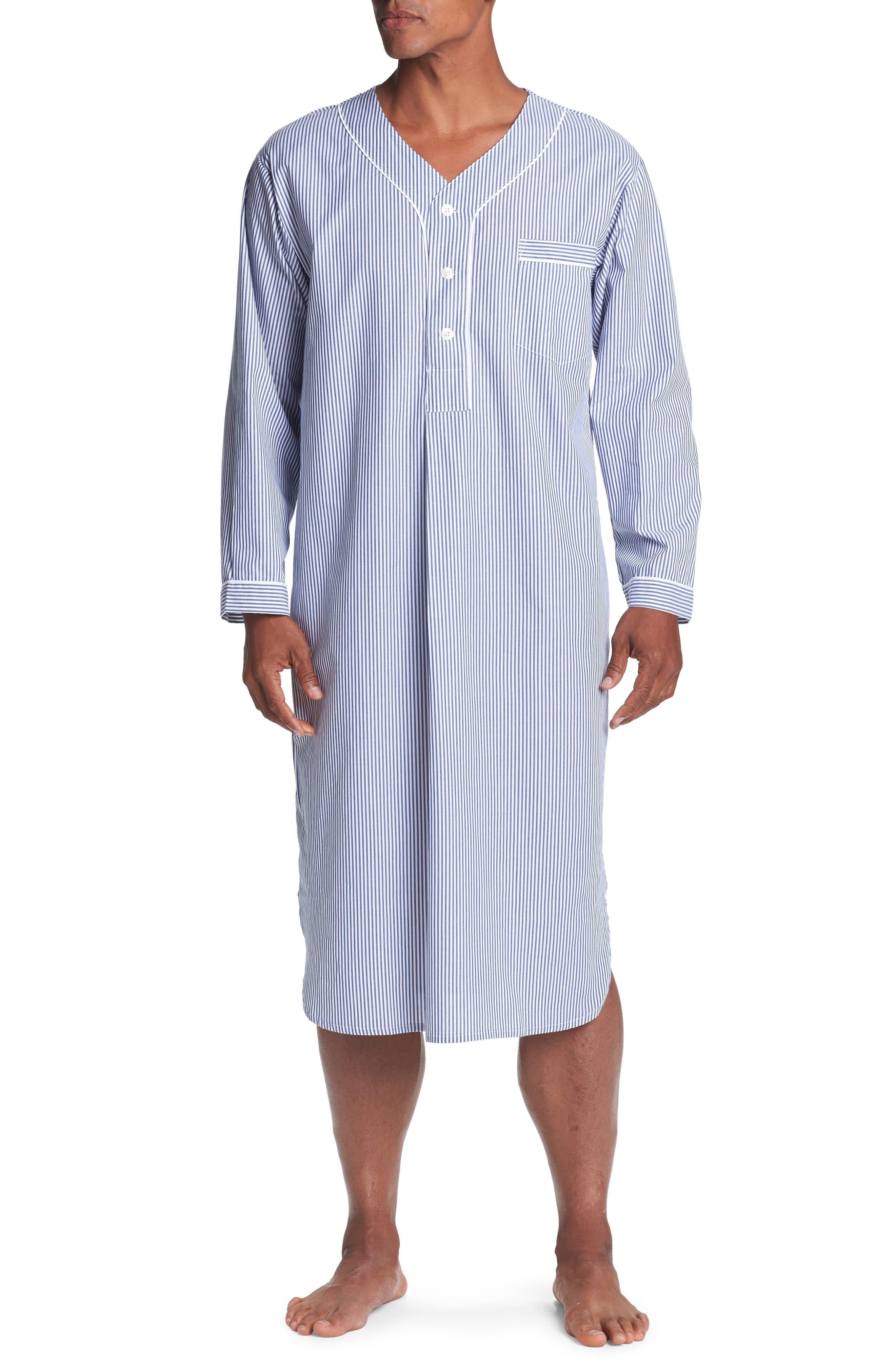 Vintage Men's Underwear Mens Majestic International Cotton Nightshirt Size SmallMedium - Blue $60.00 AT vintagedancer.com