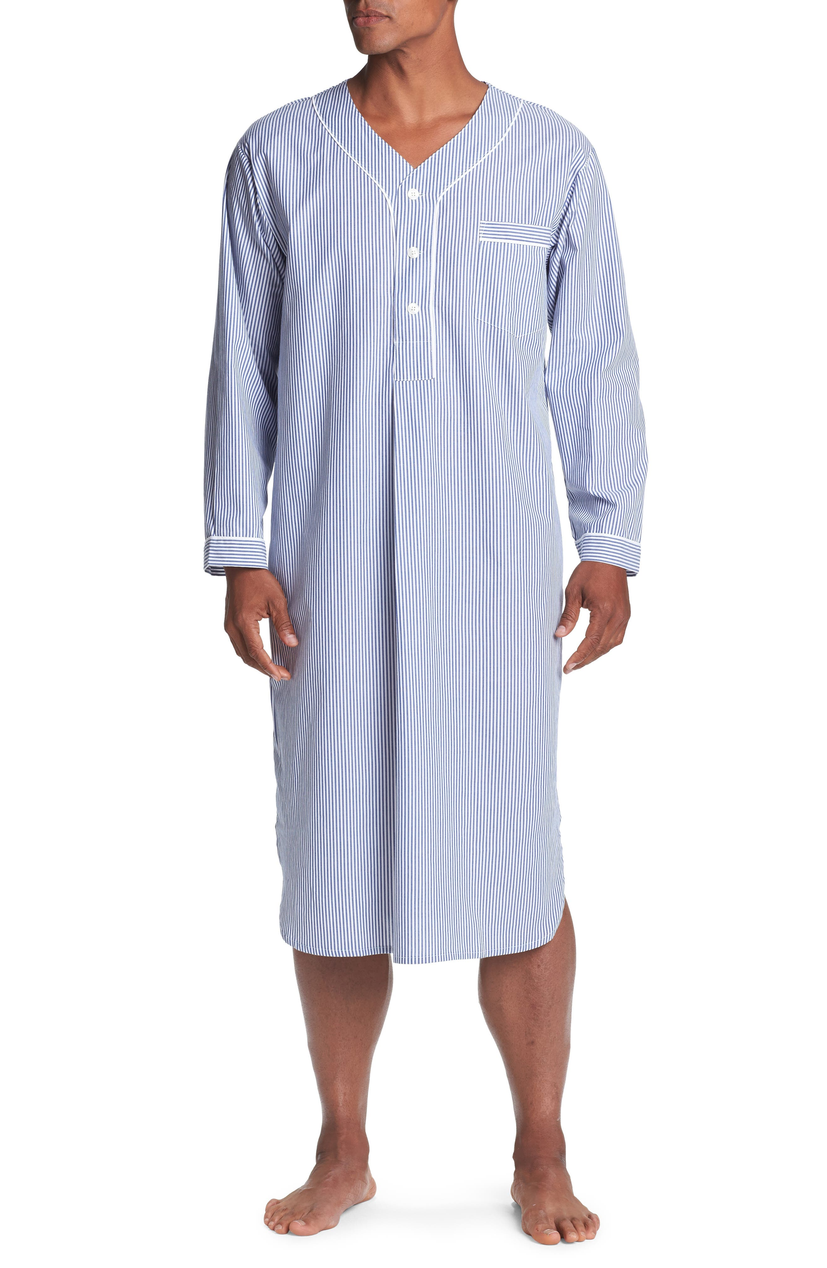 1940s Men's Underwear: Briefs, Boxers, Unions, & Socks Mens Majestic International Cotton Nightshirt Size SmallMedium - Blue $60.00 AT vintagedancer.com