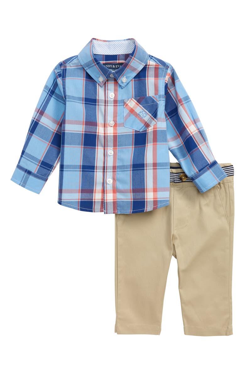 ANDY & EVAN Shirt & Pants Set, Main, color, LBA-LIGHT BLUE PLAID