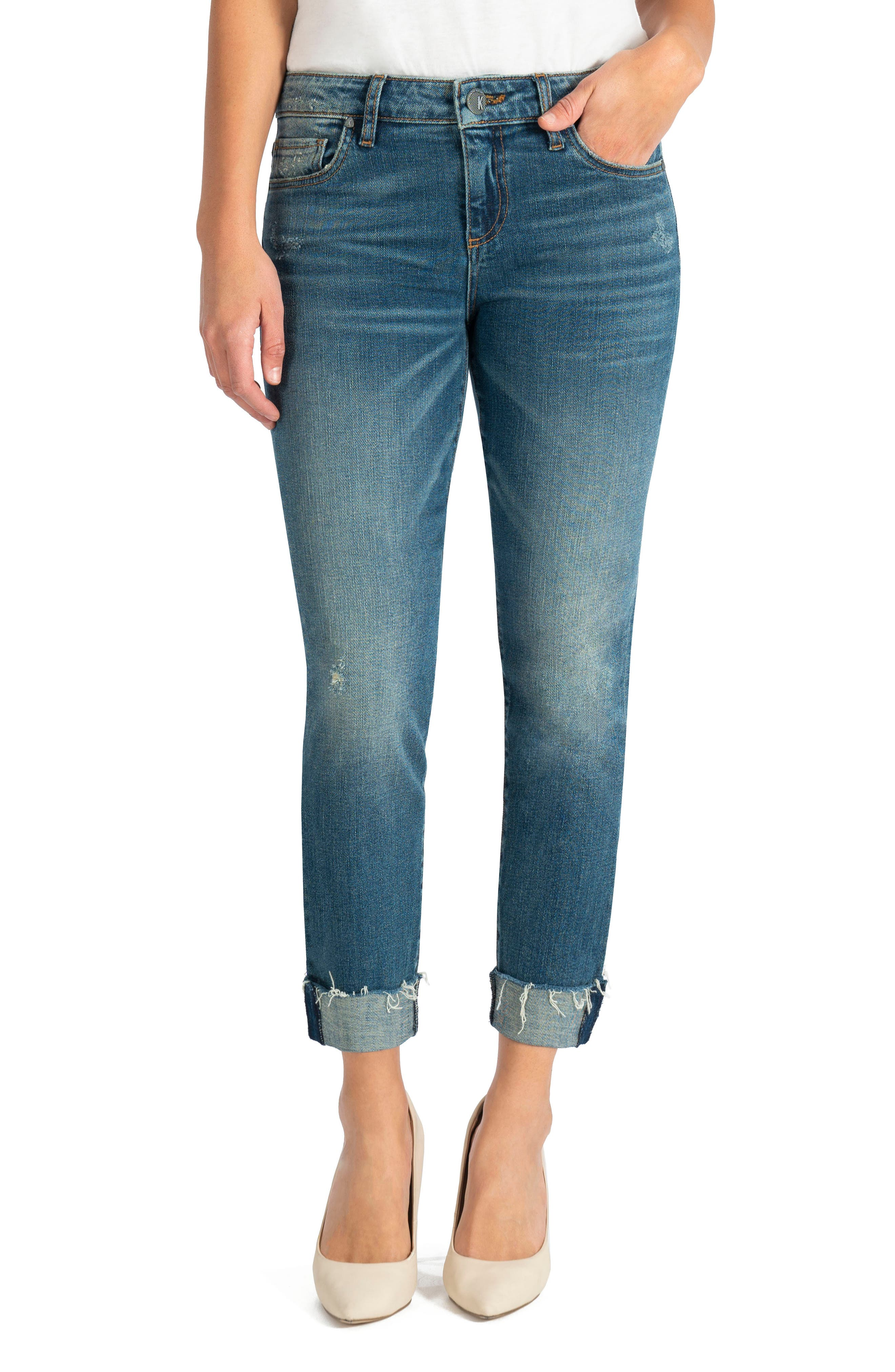 KUT from the Kloth Catherine Distressed Boyfriend Jeans (Deciding) (Regular & Petite) | Nordstrom