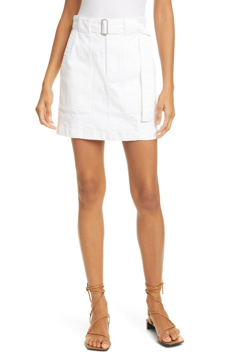 LA VIE REBECCA TAYLOR Belted White Denim Skirt, Main, color, 106
