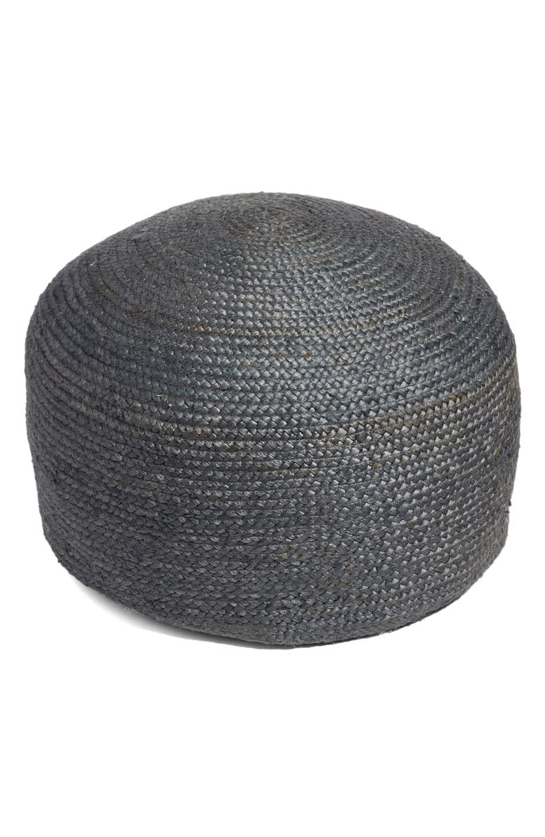 TREASURE & BOND Round Jute Pouf, Main, color, GREY CASTLEROCK